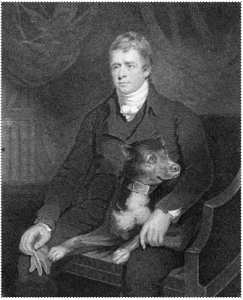 Engraving of Sir Walter Scott and Camp by James Heath, 1810